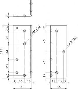 Amortisseur de porte V 1600 cornière portes coulissantes