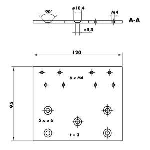 Plaque de montage portes vitrées V 1600 - 205463