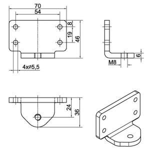Ferme-porte DIREKT Dimensions accessoires 205449
