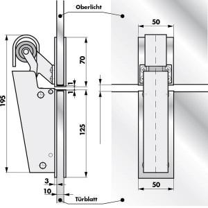 Profilé en U V 1600 portes vitrées