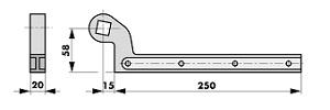 Ferme-porte au sol Dimensions Accessoire 460086-300