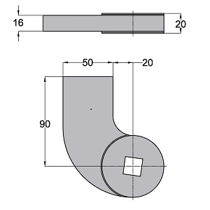 Ferme-porte au sol Dimensions Accessoire 460088-600