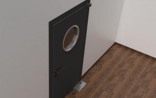 Ferme-porte au sol WAB 180 sur porte en métal