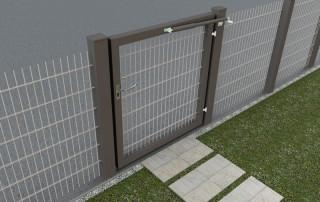 Ferme-porte DIREKT sur portail du jardin - gris