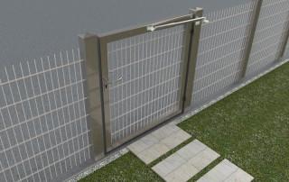 Ferme-porte DIREKT sur portail du jardin - acier inoxydable