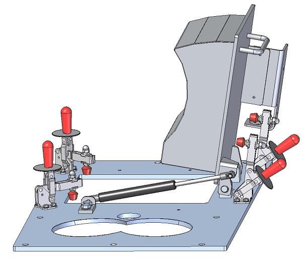 Trappe de maintenance avec ressort à gaz, 3D, ouverte