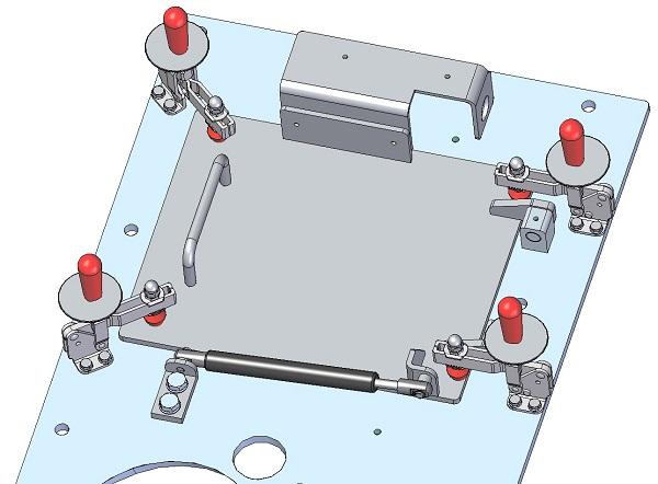 Trappe de maintenance avec ressort à gaz, 3D, fermée