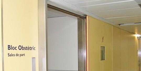 Sliding fire door operator at hospital