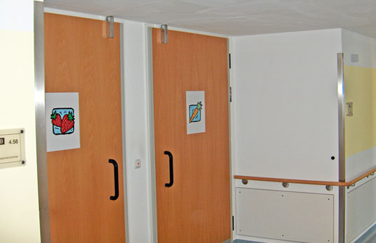 Door checks for comfortable opening and closing of highly frequented doors